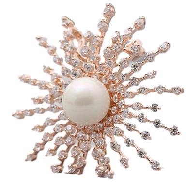 Γυναικεία Καρφίτσες Κοσμήματα με στυλ κοσμήματα πολυτελείας Ευρωπαϊκό Μαργαριτάρι Flower Shape Ηλιοτρόπιο Κοσμήματα Για Καθημερινά