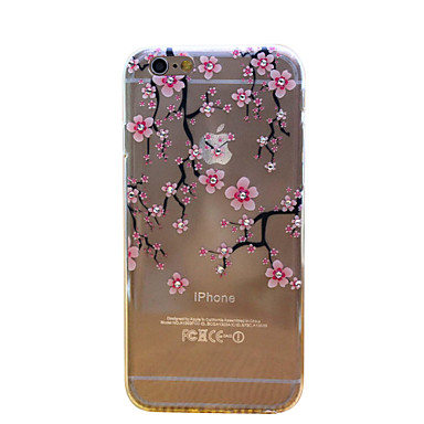 Voor iPhone 6 hoesje / iPhone 6 Plus hoesje Strass / Ultradun / Transparant / Patroon hoesje Achterkantje hoesje Bloem Zacht TPUiPhone 6s