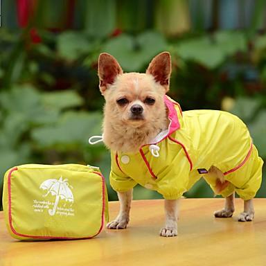 Pies Płaszcz przeciwdeszczowy Ubrania dla psów Przenośny Składane Wodoszczelność Jendolity kolor Yellow Czerwony Niebieski Kostium Dla