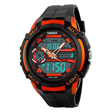 SKMEI Męskie Sportowy Cyfrowe LED Kalendarz Chronograf Wodoszczelny Dwie strefy czasowe alarm Stoper Srebrzysty PU Pasmo Nowoczesne Czarny