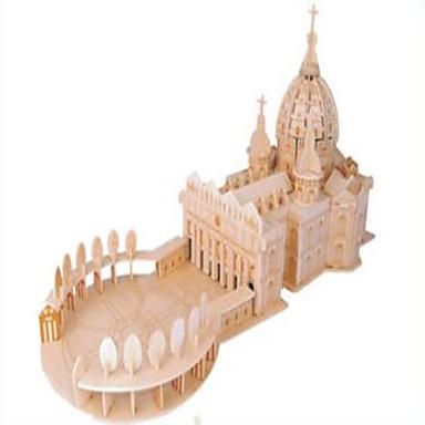 puzzle Ahşap Yapbozlar Yapı taşları DIY Oyuncak Küre Dövüşçü Ünlü Binası Kilise 1 Ahşap Kristal Model ve İnşaa Oyuncakları