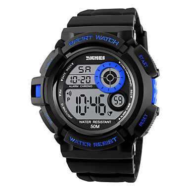 SKMEI Ανδρικά Ψηφιακό Αθλητικό Ρολόι Συναγερμός Ημερολόγιο Χρονογράφος Ανθεκτικό στο Νερό LED Πολύχρωμα Νυχτερινή λάμψη Χρονόμετρο PU