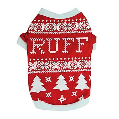 Psy T-shirt Ubrania dla psów Zima Lato Płatek śniegu Urocze Modny Święta Bożego Narodzenia Black Czerwony