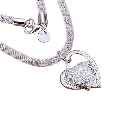 Damen Anhängerketten / Statement Ketten - Sterling Silber Herz, Liebe Silber Modische Halsketten Für Danke, Valentinstag