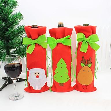 Noel dekorasyonu için yılbaşı kırmızı şarap şişesi çantası kapak çanta sofra dekorasyonu ev yılbaşı