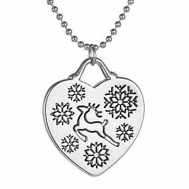 Damskie Naszyjniki z wisiorkami - Jeleń, Serce, Płatek śniegu Artystyczny, Modny Silver Naszyjniki Na Prezenty bożonarodzeniowe, Codzienny