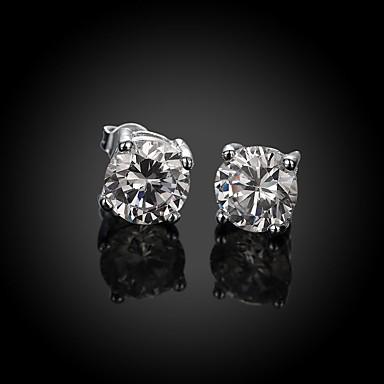 Damskie Kolczyki na sztyft Cyrkon Cyrkonia Miedź Posrebrzany Imitacja diamentu Circle Shape Geometric Shape Biżuteria Silver Ślub Impreza