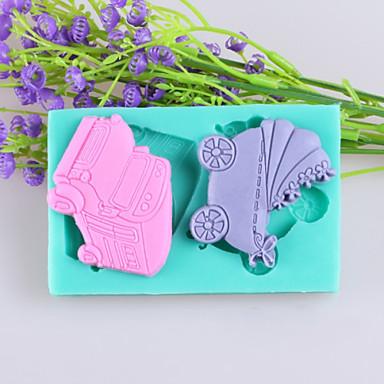 de carros e carruagens do bebê fondant de chocolate moldes de silicone bolo, ferramentas de decoração artigo de forno