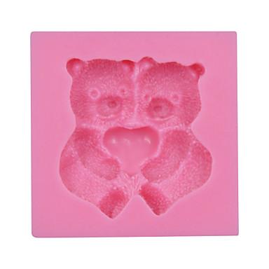 valentine's geschenk schattige beer fondant siliconen schimmel cake chocolade snoep bakvormen sm-030