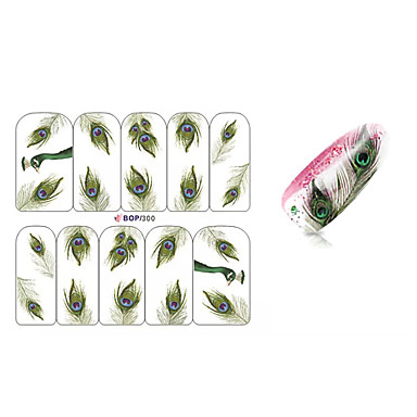 10pcs penas de pavão design de unhas sticker art bop / 300