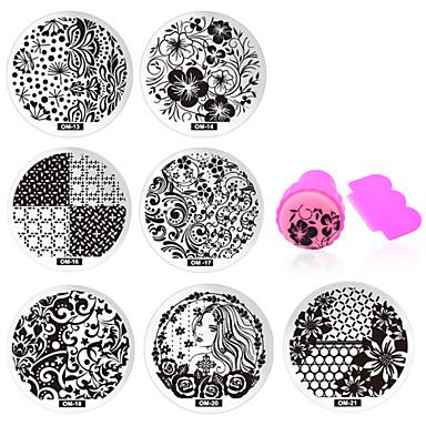 11 pcs MetalPistol Bijuterie unghii Ștampila de ștanțare Pentru deget nail art pedichiura si manichiura Zilnic Floare / Modă / ștampilare Placă / Unghiul de bijuterii