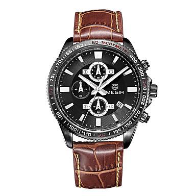 MEGIR Erkek Spor Saat Asker Saat Elbise Saat Moda Saat Bilek Saati Quartz Dijital Takvim Gerçek Deri Bant Eski Tip İhtişam Günlük