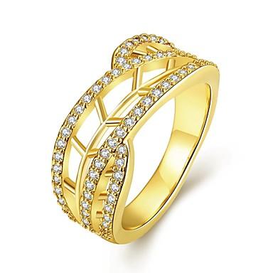 نساء خاتم مكعب زركونيا أوروبي زركون مكعبات زركونيا نحاس Geometric Shape مجوهرات يوميا فضفاض