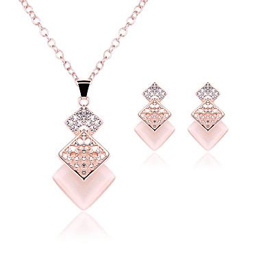 Kadın Takı Seti Sentetik Opal Düğün Parti Sentetik Taşlar Opal alaşım 1 Çift Küpe Kolyeler