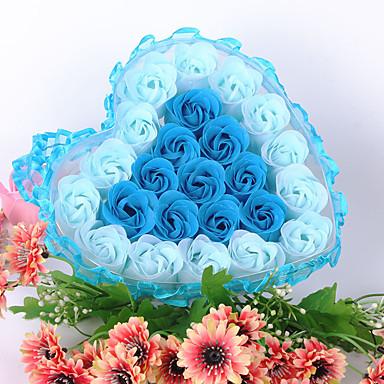 Walentynki prezenty promocyjne ślubu dostarcza 24 kwiat koronki kwiat Mydło pole kwiat prezent w kształcie serca