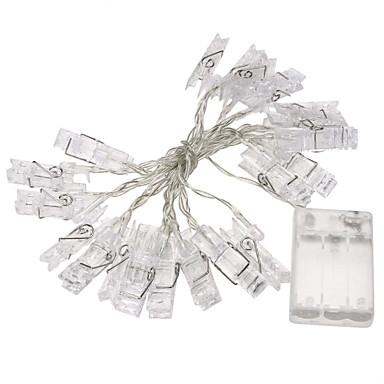 1pc 2m Mini 20 Noel ışıkları yılbaşı partisi düğün ev dekorasyon peri ışıkları, sarı / beyaz / çoklu 3xaa pil kartı fotoğraf klip dize
