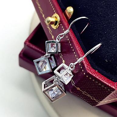 Damskie Kolczyki wiszące Biżuteria Modny luksusowa biżuteria Osobiste Srebro standardowe Cyrkon Cyrkonia Square Shape Geometric Shape