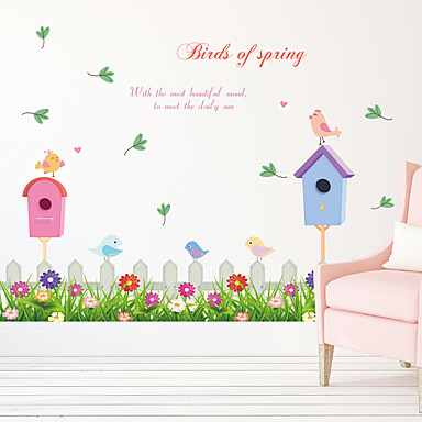 النباتية كارتون كلمات ومصطلحات ملصقات الحائط لواصق حائط الطائرة لواصق حائط مزخرفة, ورقة تصميم ديكور المنزل جدار مائي جدار