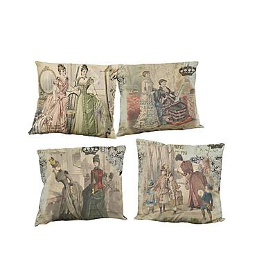 مجموعة من 4 قصر نمط الرجعية المطبوعة الكتان وسادة غطاء الديكور الإبداعي مربع (18