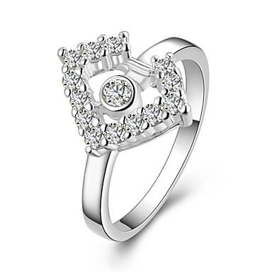 عصابة مكعب زركونيا يوميا فضفاض مجوهرات زركون نحاس تصفيح بطلاء الفضة نساء خاتم 1PC,8 فضة