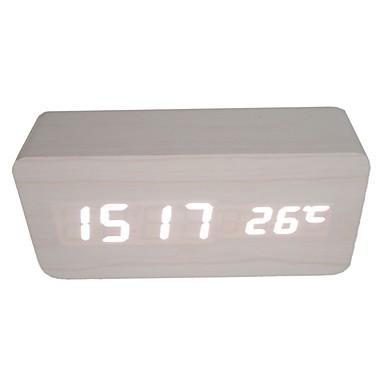 raylinedo® τελευταίες λευκό σχεδιασμό μόδας λευκό ξύλο οδήγησε φως ξύλινα οθόνη ψηφιακό ξυπνητήρι -Time ημερομηνία θερμοκρασία - φωνής και