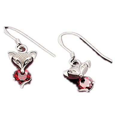 Damskie Kolczyki wiszące Kryształ Słodkie Style Srebro standardowe Animal Shape Lisek Biżuteria Na Codzienny