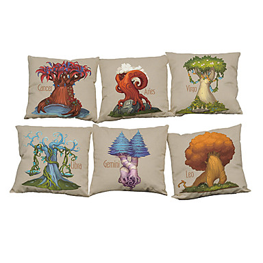 6 szt Bielizna Naturalne / ekologiczne Pokrywa Pillow Poszewka na poduszkę,Stały Nowość TexturedTradycyjny Retro Tradycyjny / Classic