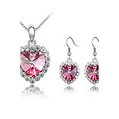 Damskie Zestawy biżuterii Kryształ Miłość Kryształ austriacki Stop 1 Naszyjnik 1 parę kolczyków Na Impreza Prezenty ślubne
