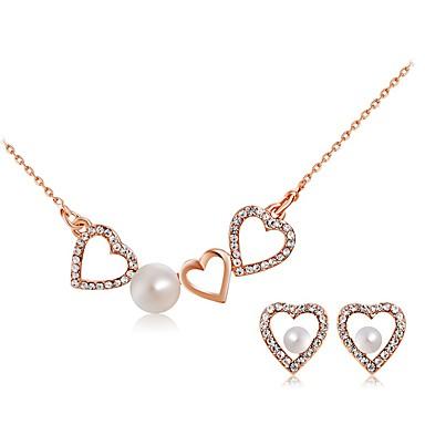 Γυναικεία Απομίμηση Μαργαριτάρι Στρας Κλασσικό Love Μαργαριτάρι Απομίμηση Μαργαριταριού Στρας Κράμα Καρδιά 1 Κολιέ 1 Ζευγάρι σκουλαρίκια