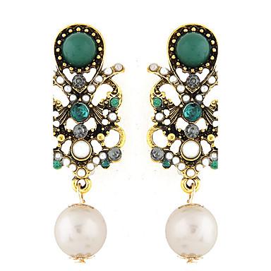 للمرأة أقراط قطرة موضة أوروبي الأحجار الكريمة الاصطناعية اللؤلؤ راتينج سبيكة مجوهرات أخضر حزب مجوهرات