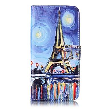 Pouzdro Uyumluluk Apple iPhone 5 Kılıf iPhone 6 iPhone 7 Kart Tutucu Cüzdan Satandlı Flip Tam Kaplama Kılıf Eiffel Kulesi Sert PU Deri