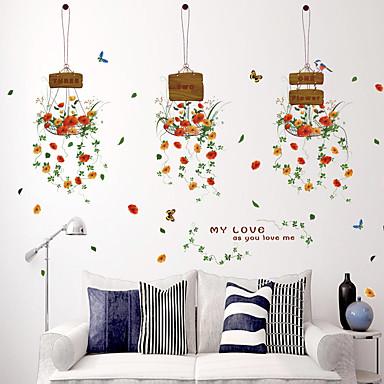 Moda Çiçekler Botanik Duvar Etiketler Uçak Duvar Çıkartmaları Dekoratif Duvar Çıkartmaları, Kağıt Ev dekorasyonu Duvar Çıkartması Duvar