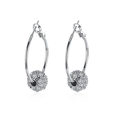 حلقات حجر الراين سبيكة فضي مجوهرات إلى يوميا فضفاض 1 زوج