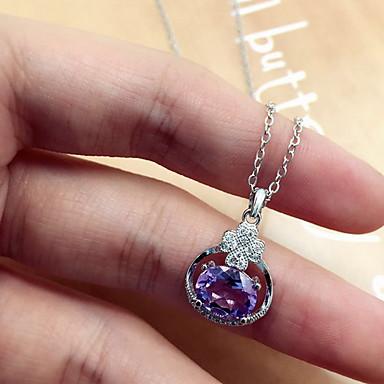 Kadın Kolye Uçları Kristal Kristal Zirkon Kübik Zirconia Kalp Moda lüks mücevher Mor Mücevher Için Günlük 1pc
