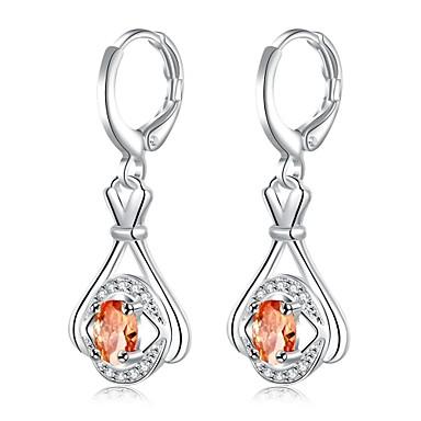 Kadın Damla Küpeler Kristal Kübik Zirconia kostüm takısı Kristal Zirkon Bakır Gümüş Kaplama Mücevher Uyumluluk Günlük
