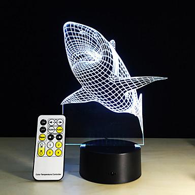 rechin dinte 3d a condus lumina de noapte acrilic colorat copii copii dormitor usb tabel lampă cadou pentru ziua de nastere