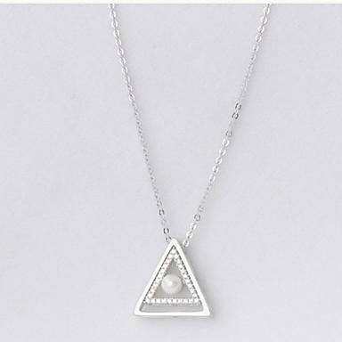 Kadın Uçlu Kolyeler Mücevher Geometric Shape Triangle Shape Som Gümüş Zirkon Kübik Zirconia Lüks Moda Mücevher Uyumluluk Günlük Yılbaşı