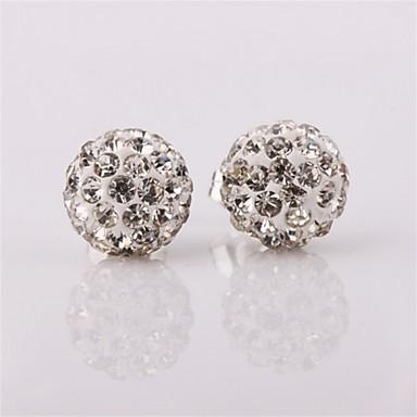 Damskie Kolczyki na sztyft Cyrkonia Klasyczny Cyrkon Miedź Posrebrzany Imitacja diamentu Circle Shape Geometric Shape Biżuteria Codzienny