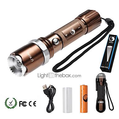 U'King LED Fenerler LED 2000 lm 5 Kip Cree XM-L T6 Pil ve Adaptörle Zoomable Ayarlanabilir Fokus Kısılabilir Kamp/Yürüyüş/Mağaracılık