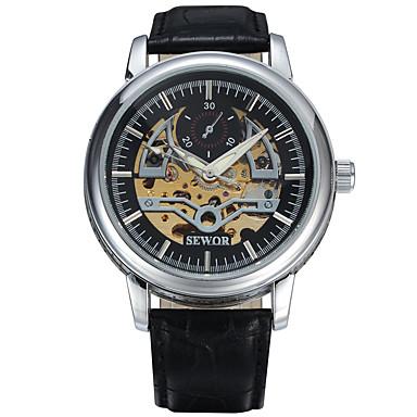 Erkek mekanik izle Bilek Saati Elbise Saat Moda Saat Spor Saat Mekanik manual-hareketli Gerçek Deri Bant İhtişam Günlük Çok-Renkli