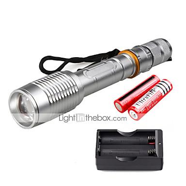 U'King Φακοί LED LED 2000 lm 5 Τρόπος Cree XM-L T6 με μπαταρίες και φορτιστή Zoomable Ρυθμιζόμενη Εστίαση