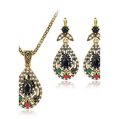 Takı Seti Eski Tip Bohemia Stili lüks mücevher Sentetik Taşlar Reçine Yapay Elmas Altın Kaplama Simüle Elmas alaşım Mücevher 1 Kolye 1