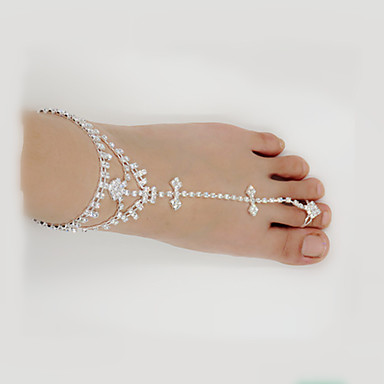 Leaf Shape Imitacja diamentu Sandały Barefoot - Damskie Silver Łańcuszek na kostkę Na Ślub Impreza Codzienny Casual