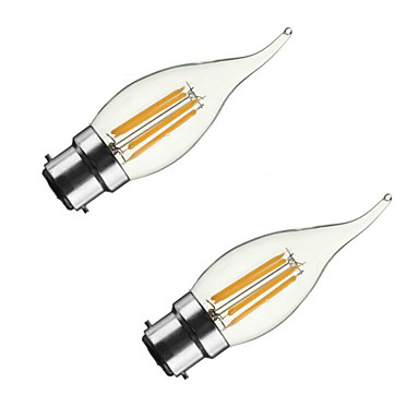 ONDENN 2pcs 3.5W 300-350 lm B22 E26/E27 Bec Filet LED CA35 4 led-uri COB Intensitate Luminoasă Reglabilă Alb Cald AC 220-240 AC 110 - 130