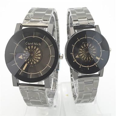 Pentru cupluri Ceas de Mână Quartz Oțel inoxidabil Bandă Casual Argint