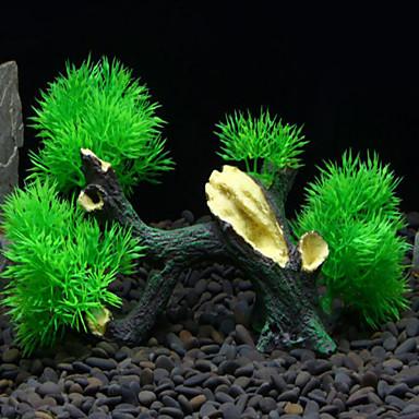 ديكور حوض السمك خشب غير سام و بدون طعم بلاستيك