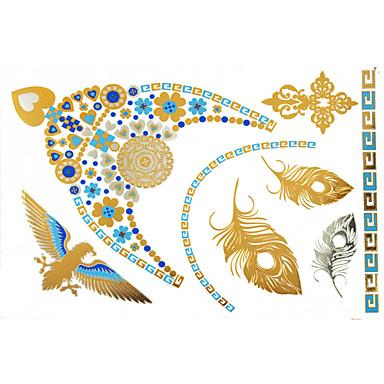Séries de Jóias Tatuagem Adesiva - Estampado - para Feminino/Girl/Adulto/Adolescente - de Papel - Dourada - #(23x15) #(1)