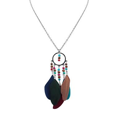 billige Mode Halskæde-Dame Halskædevedhæng Fjer Damer Tassel Bohemisk Europæisk Mørkeblå Dybgrøn Regnbue Halskæder Smykker Til Afslappet