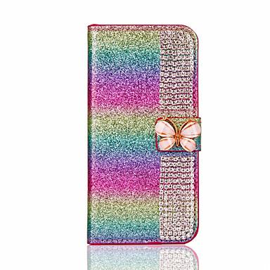 Käyttötarkoitus iPhone X iPhone 8 kotelot kuoret Korttikotelo Paljetti Tuella DIY Kokonaan peittävä Etui Kimmeltävä Kova PU-nahka varten