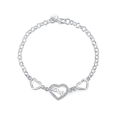 Γυναικεία Βραχιόλια με Φυλαχτά Κρυστάλλινο Love Μοντέρνα Ζιρκονίτης Cubic Zirconia Επάργυρο Καρδιά Κοσμήματα Δώρο